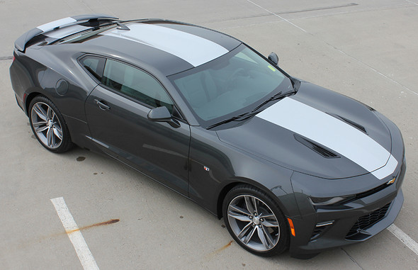 front angled view 2017 Chevy Camaro Wide Center Stripes OVERDRIVE 2016-2018