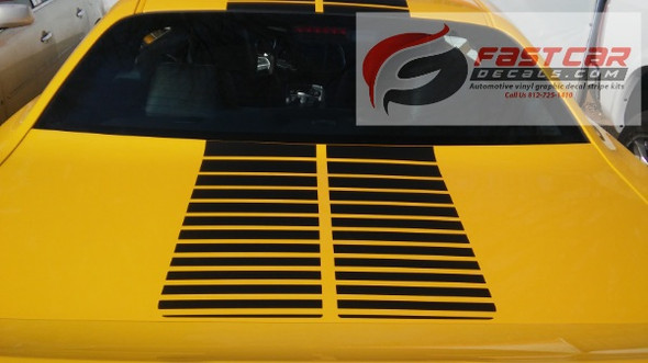 close up of yellow NEW 2020 Dodge Challenger Strobe Stripes PULSE RALLY 2008-2021