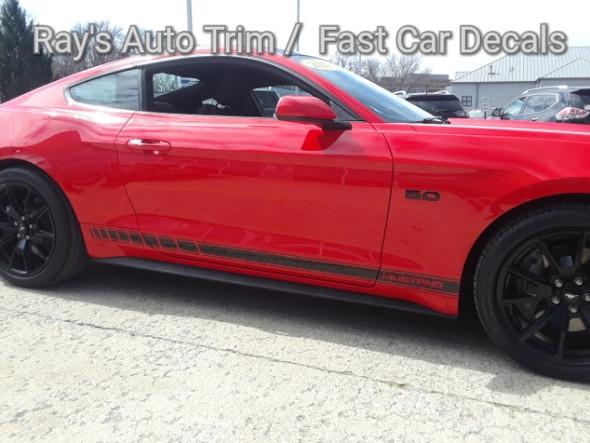 profile of red Ford Mustang Side Vinyl Graphics STALLION ROCKER 2016-2018 2019