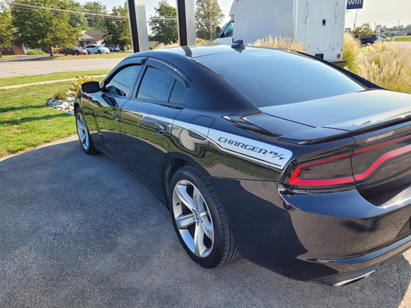 rear angle of black RECHARGE COMBO 15 : Dodge Charger Hood Decals and Side Stripe Decals