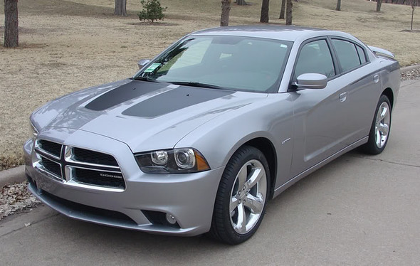 front angle of 2014 Dodge Charger Hemi Hood Decals RECHARGE HOOD 2011-2014