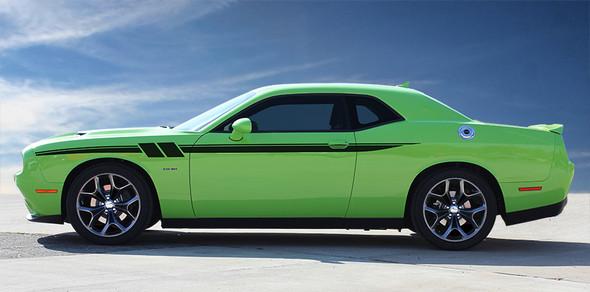 side of green Stripes Dodge Challenger RT, SRT, Hellcat FURY 2011-2021