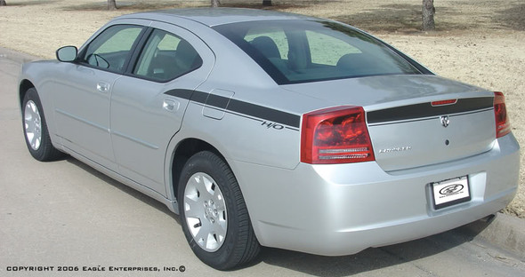 rear angle of 2006 Dodge Charger Decals CHARGIN 2006 2007 2008 2009 2010