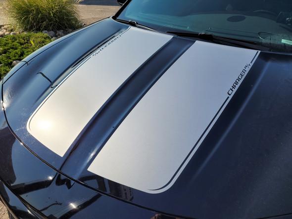 close up of black 2020 Dodge Charger Hood Stripe RECHARGE 15 HOOD 2015-2021