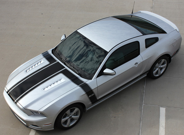 top angle 2013 Ford Mustang Side Hood Stripes PRIME 1 2013-2014