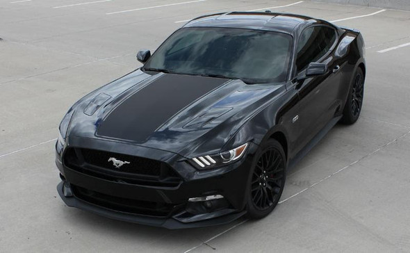 front angle of 2017 Ford Mustang Wide Hood Stripe MEGA HOOD 2015-2016-2017