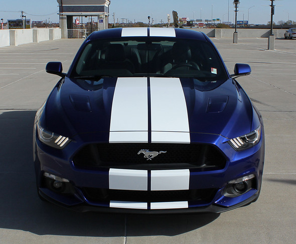front view Dual Racing Stripes for Ford Mustang GT STALLION 2015-2017