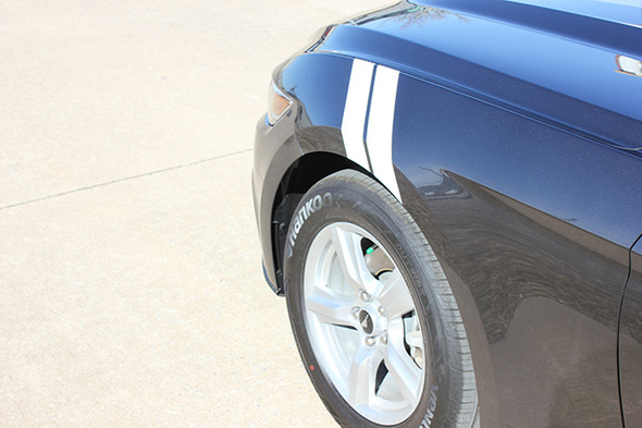 front angle of 2017 Ford Mustang Fender Stripes 2015-2018 DOUBLE BAR