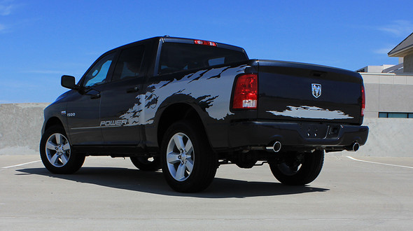rear angle of Vinyl Decals for Dodge Ram Truck Bed RAGE RAM 2009-2017 2018