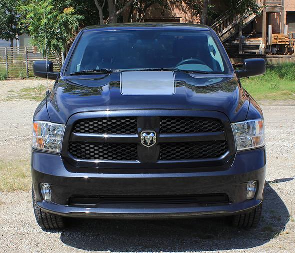 front of black Dodge Ram 1500 Hood Stripes RAM RAGE HOOD 3M 2009-2017 2018
