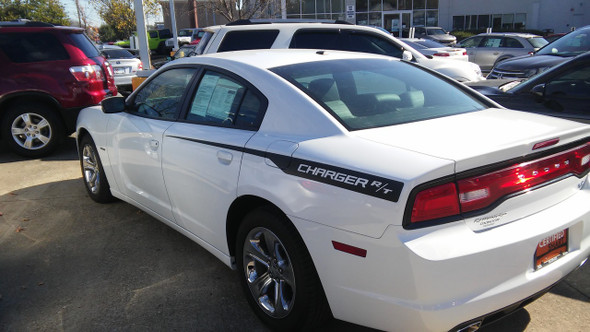 rear of white 2013 Dodge Charger RT Stripes RECHARGE 2011 2012 2013 2014