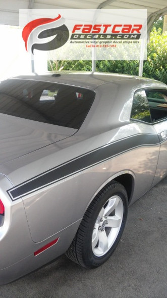 rear of 2019 Dodge Challenger Side Decals CLASSIC TRACK 2008-2021