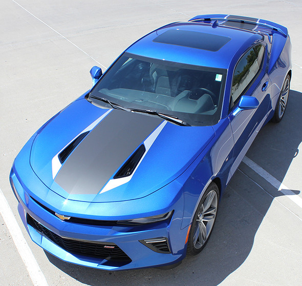 front angled view of 2016 Chevy Camaro Racing Stripes HERITAGE center rally stripes