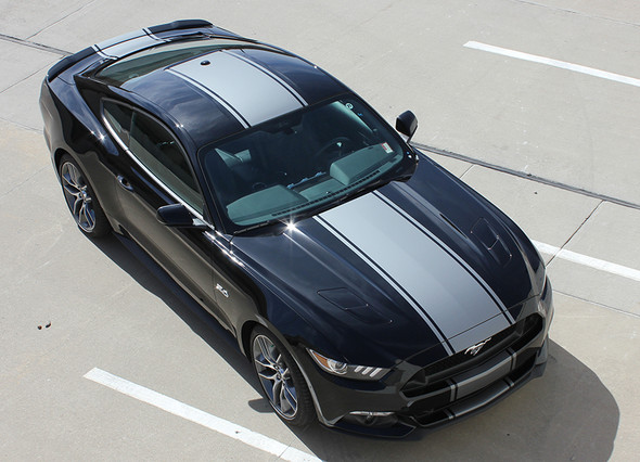 top angle of FAST! GT Ford Mustang Wide Center Stripes CONTENDER 2015-2017