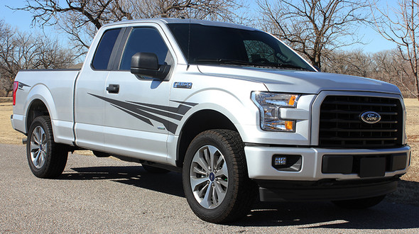 front of 2020 Ford F150 Stripe Graphics Kit APOLLO 2015-2021