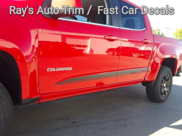 side angle of red GMC Canyon Side Door Stripes RATON 2015-2021