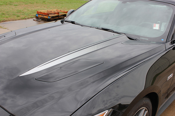 side 2017 Ford Mustang Faded Hood Stripes Decals HOOD SPEARS 2015-2017