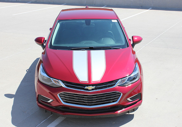 front view red 2018 Chevy Cruze Racing Stripes DRIFT RALLY 2016-2019