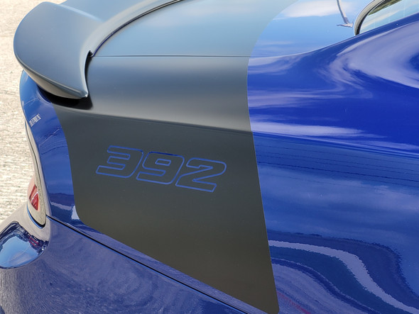 side of blue 2019 Dodge Charger Daytona Rear Stripes TAIL BAND 2015-2020 2021