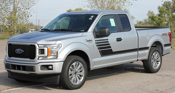 front angle of 2018 Ford F150 Side Vinyl Graphics Decals SPEEDWAY 2015-2020