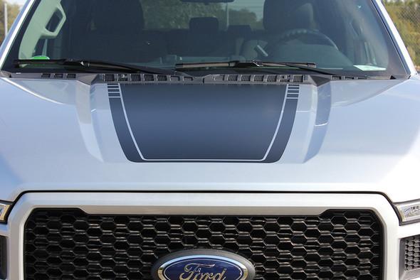 front of 2019 F150 Hood Decal Package SPEEDWAY HOOD 2015-2020