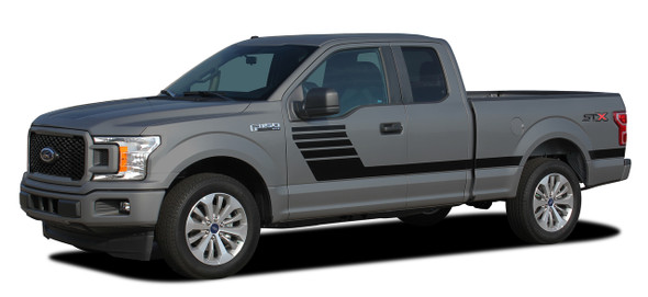 side of 2020 Ford F150 Bed Side Stripes LEADFOOT 2015-2021