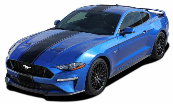 front angle of HYPER RALLY | 2018-2021 Ford Mustang Center Graphics Stripes