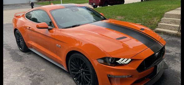 front angle of orange 2021-2018 Ford Mustang Racing Center Stripe EURO XL RALLY