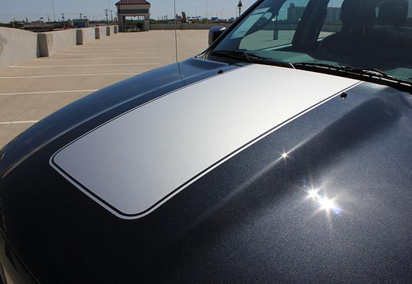 front angle of Center Dodge 1500 Ram Hood Stripes 2009-2018