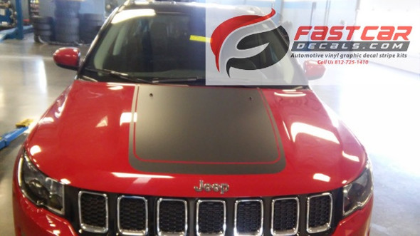 front of red 2019 Jeep Compass Hood Graphics BEARING HOOD 2017-2020 2021