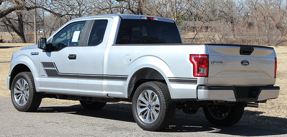 rear angle of 2019 Ford F150 Stripe Package ELIMINATOR 2015-2020