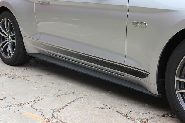 passenger side FADED ROCKER   Ford Mustang Stripe Black & Mustang text 2015-2018