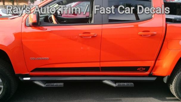 side of orange 2021 Chevy Colorado Pinstriping RAMPART 2015-2021
