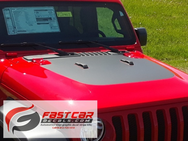front angle of red 2019 Jeep Wrangler JL Hood Stripes SPORT HOOD 2018 2019