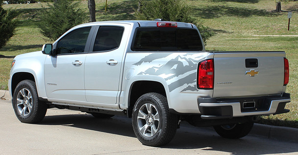 side of silver GMC Canyon Side Stripe Decals ANTERO 2015 2016 2017 2018 2019