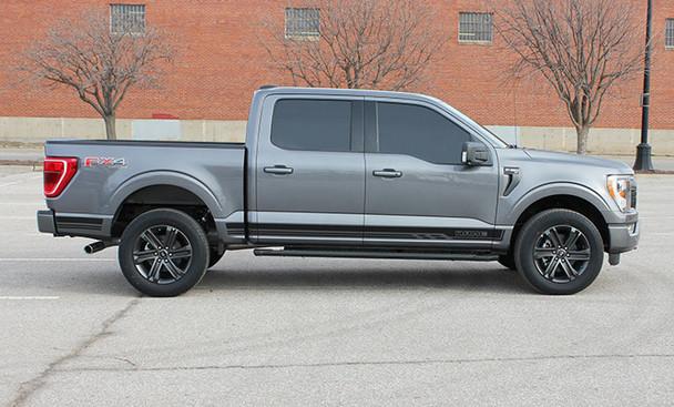 side of gray 2021 Ford F150 Side Stripes 15 150 ROCKER 2 2015-2021