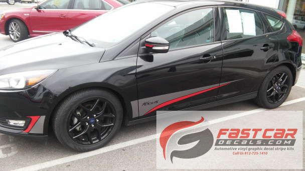 profile of black Ford Focus Graphics Package BLADE 2015 2016 2017 2018