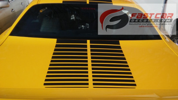 rear of yellow 2019 Dodge Challenger Strobe Stripes PULSE RALLY 2008-2020 2021