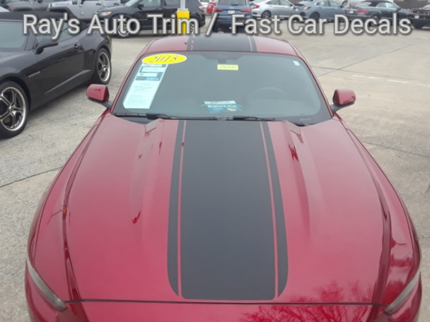 front of red Ford Mustang Wide Top Stripe Decals MEDIAN 2015 2016 2017 | FCD
