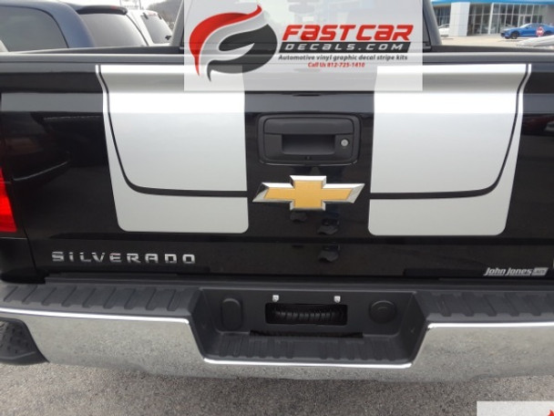 rear of black Chevy Silverado Decals CHASE RALLY 3M 2016 2017 2018 2019