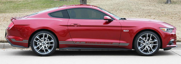 profile of red Ford Mustang Stripes Kit HASTE 2015 2016 2017 2018
