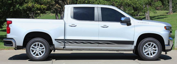 profile of silver 2019 Chevy Silverado Side Stripe Decals 3M SILVERADO ROCKER 2