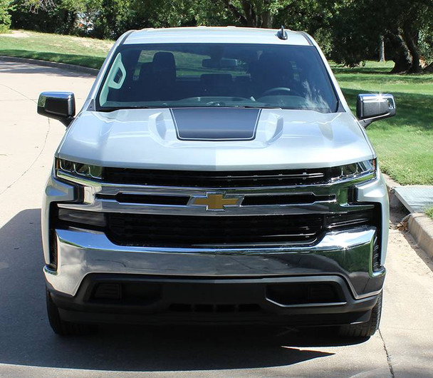 front of NEW! 2019 Chevy Silverado Hood Decal Stripes 3M T-BOSS HOOD