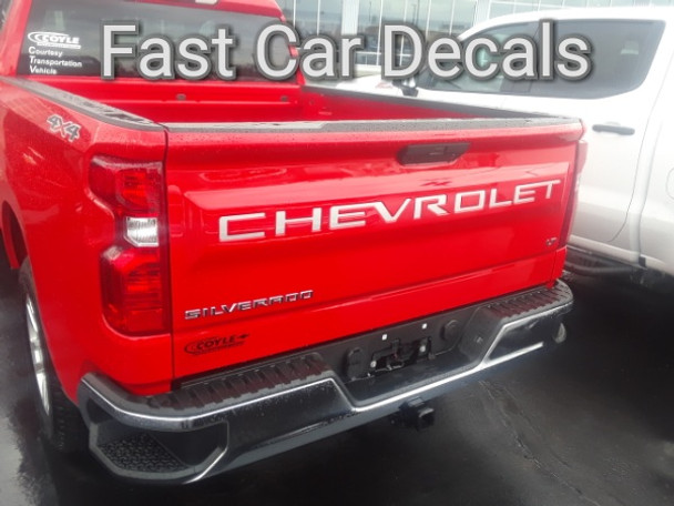 rear of red 2020 2019 Chevy Silverado CHEVROLET Tailgate Letters Decals | FCD