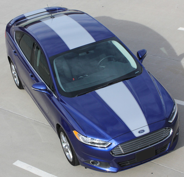 top of 2013-2018 Ford Fusion Center Hood Wide Stripes OVERVIEW RALLY