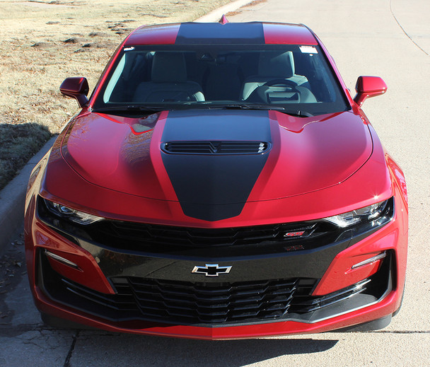 front of red 2019 Camaro Wide Center Decals OVERDRIVE 19 2019-2020 | FCD
