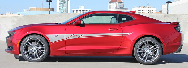 side view of red NEW! 2020-2019 Chevy Camaro Side Door Decals BACKLASH