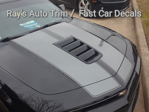 front angle of Chevy Super Sport Camaro Racing Stripes S-SPORT 2014-2015 | FCD TEXT US 812-946-2577