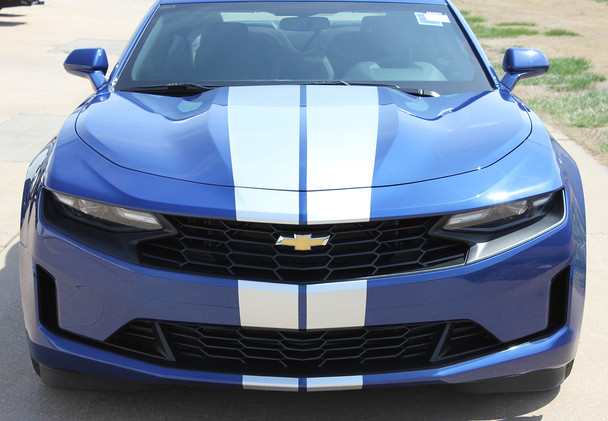 front of blue 2019 Camaro Racing Rally Stripes TURBO RALLY 19 2019