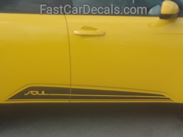 side of yellow 2022 Kia Soul Side Stripes SOULED ROCKER 2020-2021